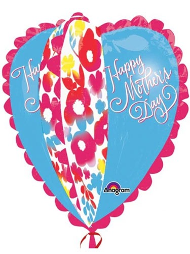 Mothers Day Watercolour Heart Supershape Balloons