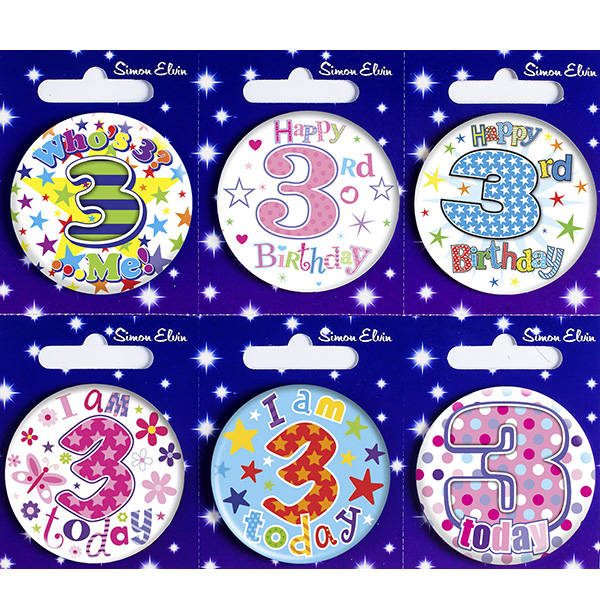 Age 3 Mixed Small Badges x6