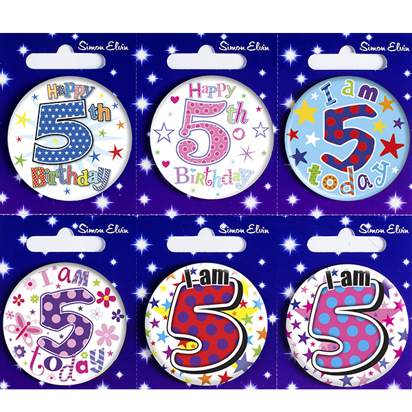 Age 5 Mixed Small Badges x6