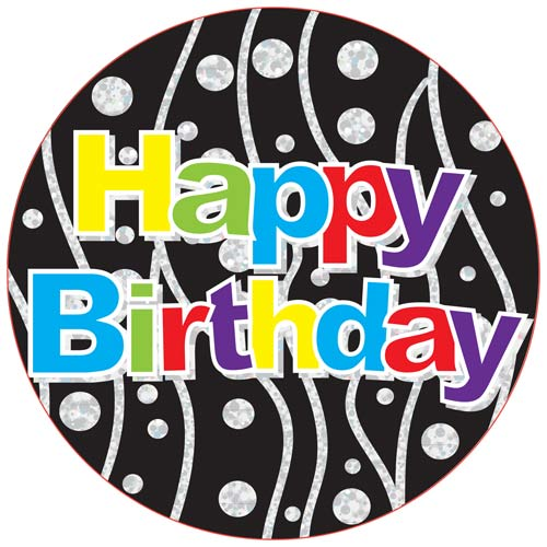 Happy Birthday Black Giant Party Badge