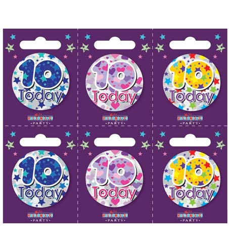Age 10 Assorted Small Badges x6