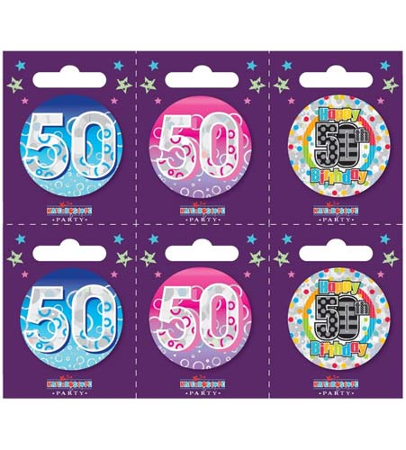 Age 50 Assorted Small Badges x6