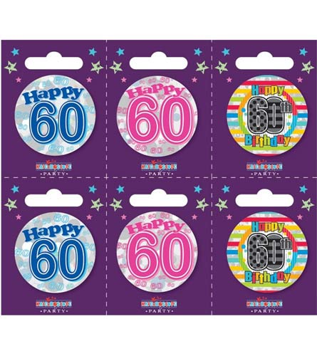 Age 60 Assorted Small Badges x6