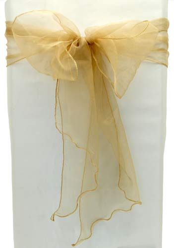 Gold Organza Chair Sash x5