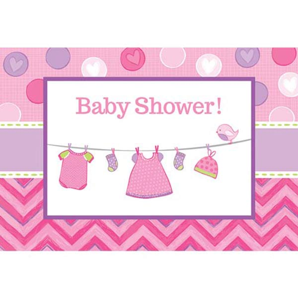 Shower With Love Baby Girl Postcard Invitations 8pk