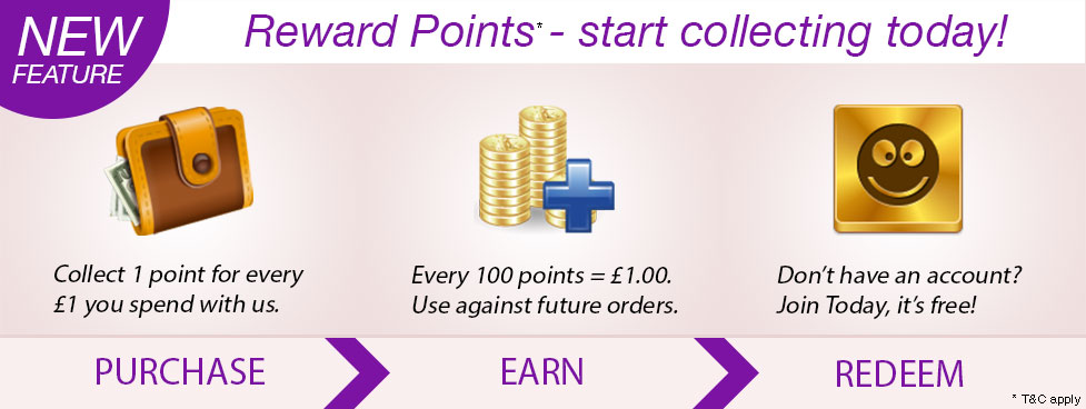 New Feature: Reward points. Purchase, earn, redeem.