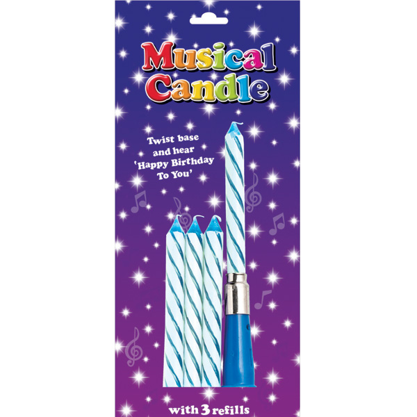 Blue Musical Candles 6 Pack