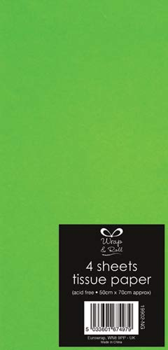Neon Green Tissue Paper x4 Sheets