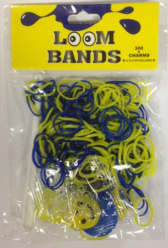 Blue And Yellow Loom Bands with Smiley Charms