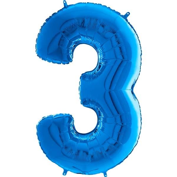 26 Grabo Blue Number 3 Shape Balloons  Gr26003b