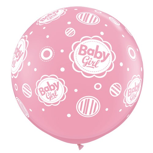 3ft Baby Girl Dots A Round Giant Latex Balloons 2pk