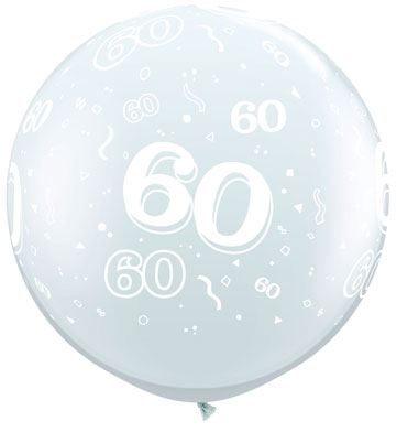 3ft Diamond Clear 60 Around Giant Latex Balloons x2