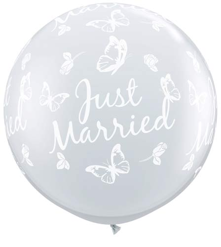 3ft Just Married Butterflies Neck Down Giant Latex Balloons 2pk