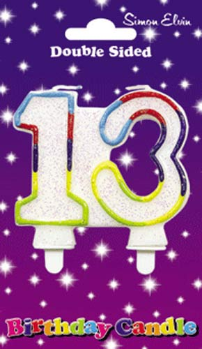 Multi Coloured Candle Number 13 (Pack of 6)