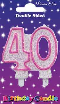 Milestone Pink Candle Number 40 (6 Pack)