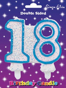 Blue Candle Number 18 (Pack Of 6)