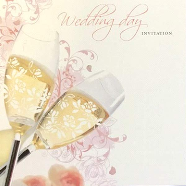 Champagne Glasses Wedding Day Invitation Cards 6pk