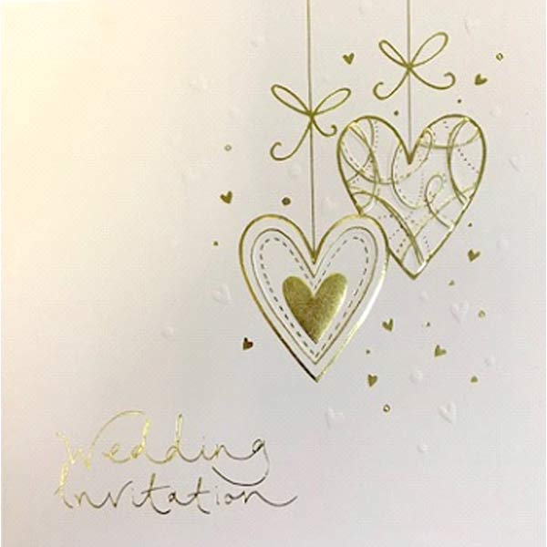 Gold & Cream Wedding Invitation Cards 6pk