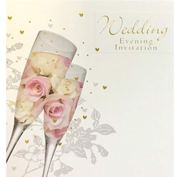 Flowers & Champagne Glasses Wedding Evening Invitation Cards 6pk