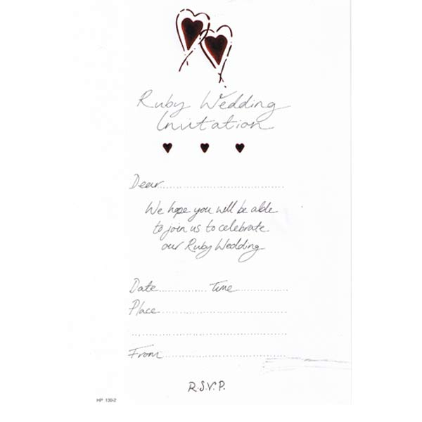 Ruby Wedding Invitations 20pk
