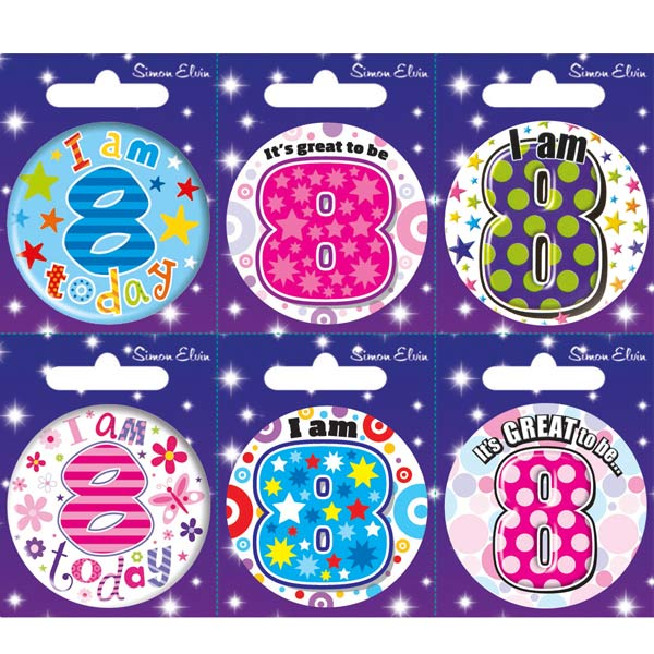 Age 8 Mixed Small Badges x6