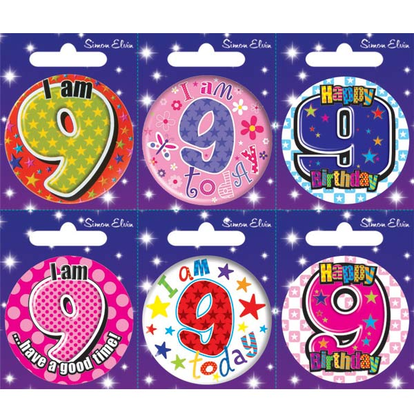 Age 9 Mixed Small Badges x6