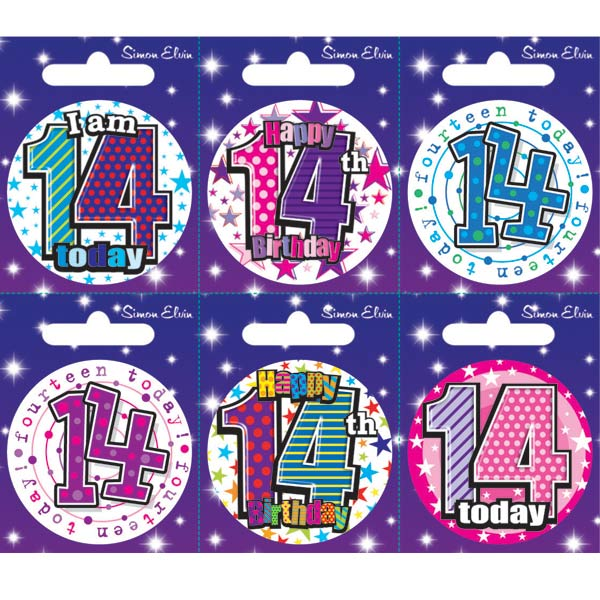 Age 14 Mixed Small Badges x6