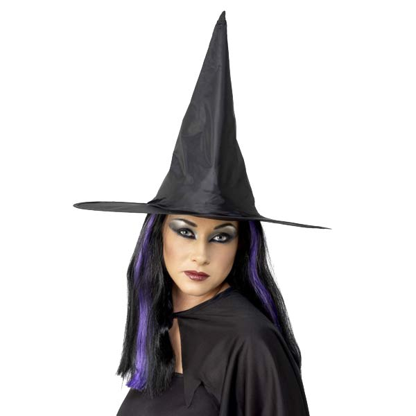 Black Shiny Fabric Witch Hats