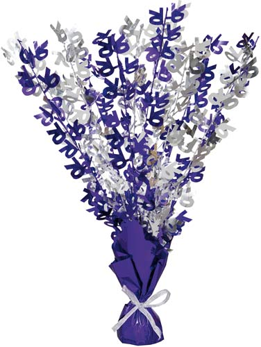 70th Purple And Silver Foil Balloon Weight Centrepiece