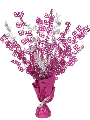 65th Pink Glitz Foil Balloon Weight Centrepiece