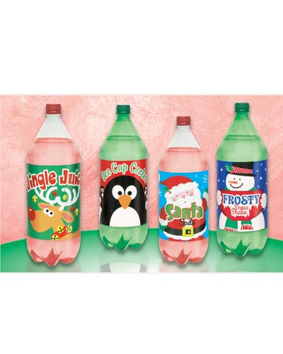 Xmas 2L Bottle Lables x4
