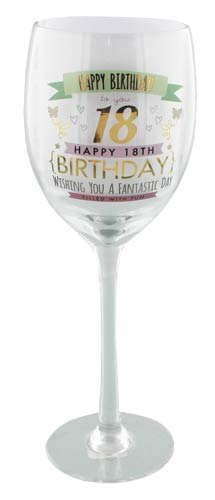 18th Birthday Girl Wine Glass
