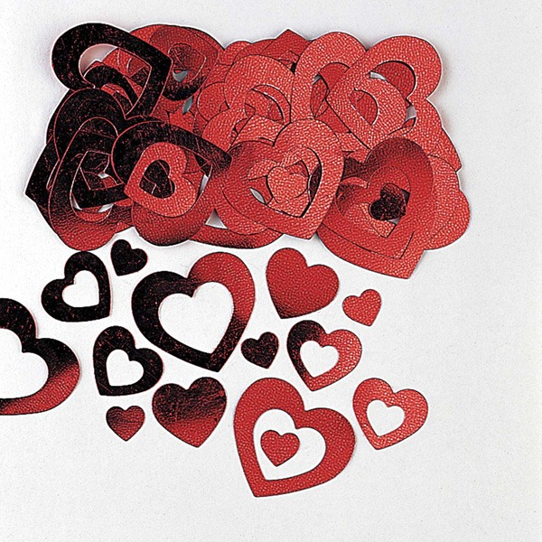 Red Heart Die-Cut Metallic Confetti